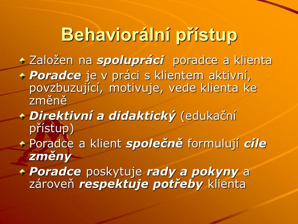 Behaviorální přístup Založen na spolupráci poradce a klienta Poradce je v práci s klientem aktivní, povzbuzující, motivuje, vede klienta ke změně Dire