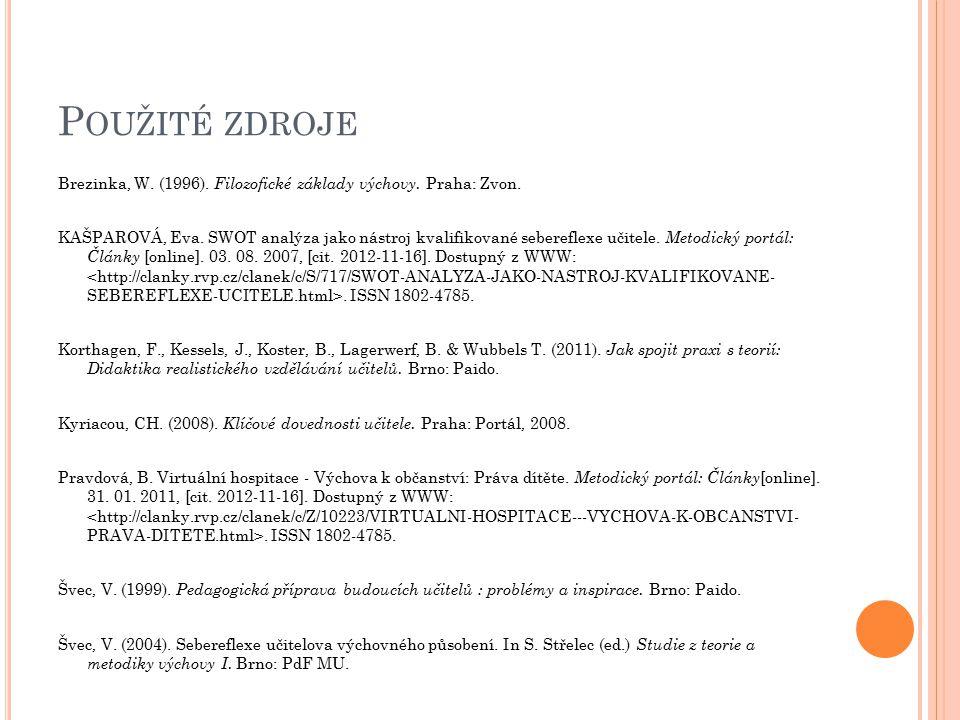 P OUŽITÉ ZDROJE Brezinka, W. (1996). Filozofické základy výchovy. Praha: Zvon. KAŠPAROVÁ, Eva. SWOT analýza jako nástroj kvalifikované sebereflexe uči