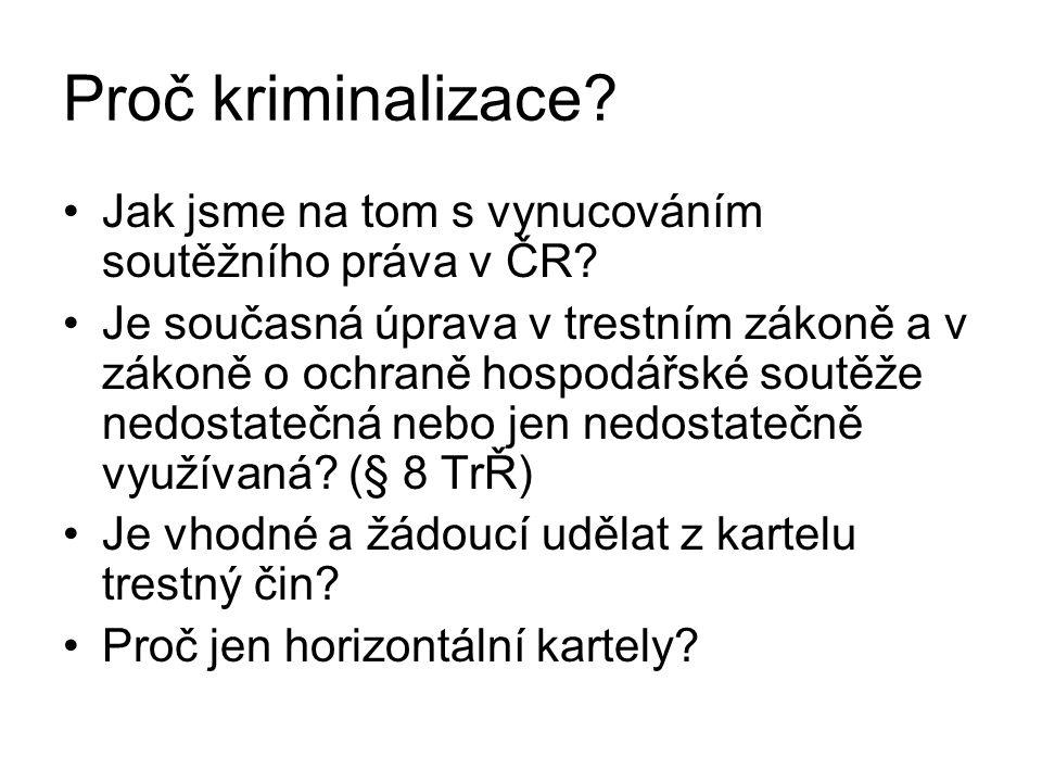 Proč kriminalizace? Jak jsme na tom s vynucováním soutěžního práva v ČR? Je současná úprava v trestním zákoně a v zákoně o ochraně hospodářské soutěže