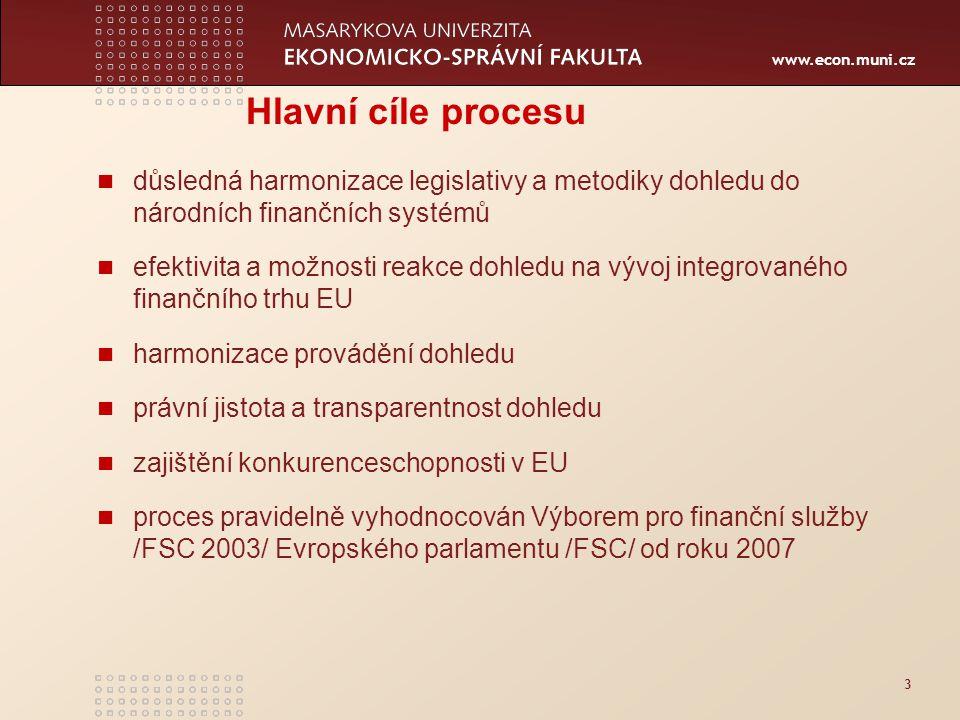 www.econ.muni.cz 3 Hlavní cíle procesu důsledná harmonizace legislativy a metodiky dohledu do národních finančních systémů efektivita a možnosti reakce dohledu na vývoj integrovaného finančního trhu EU harmonizace provádění dohledu právní jistota a transparentnost dohledu zajištění konkurenceschopnosti v EU proces pravidelně vyhodnocován Výborem pro finanční služby /FSC 2003/ Evropského parlamentu /FSC/ od roku 2007