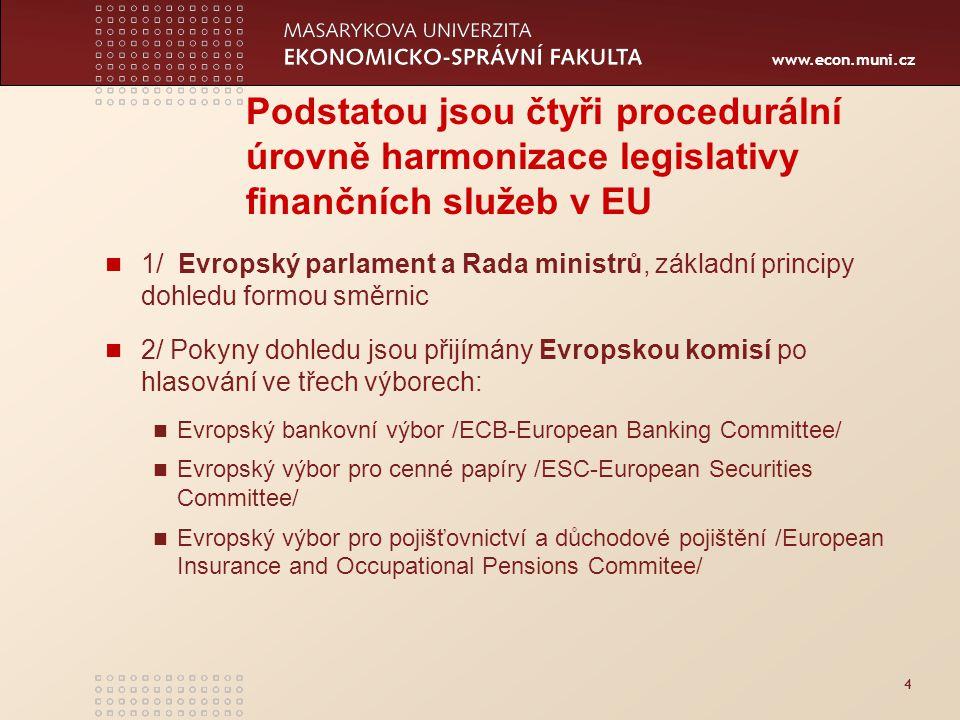 www.econ.muni.cz 4 Podstatou jsou čtyři procedurální úrovně harmonizace legislativy finančních služeb v EU 1/ Evropský parlament a Rada ministrů, základní principy dohledu formou směrnic 2/ Pokyny dohledu jsou přijímány Evropskou komisí po hlasování ve třech výborech: Evropský bankovní výbor /ECB-European Banking Committee/ Evropský výbor pro cenné papíry /ESC-European Securities Committee/ Evropský výbor pro pojišťovnictví a důchodové pojištění /European Insurance and Occupational Pensions Commitee/