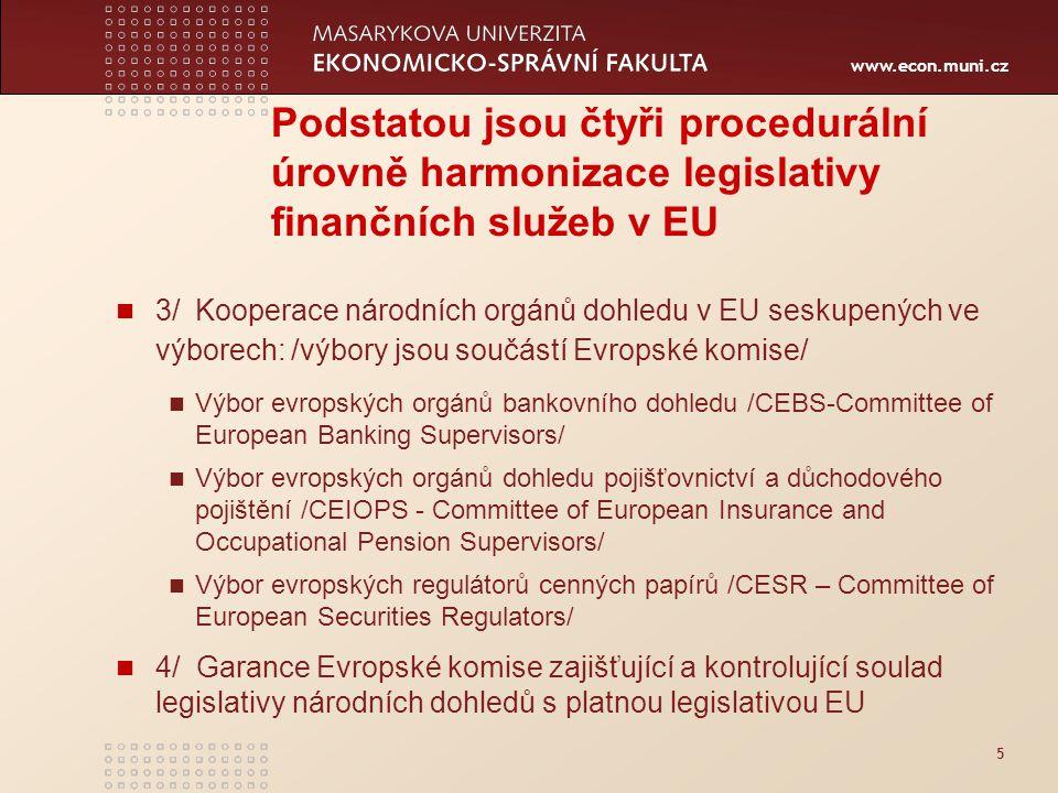 www.econ.muni.cz 5 Podstatou jsou čtyři procedurální úrovně harmonizace legislativy finančních služeb v EU 3/ Kooperace národních orgánů dohledu v EU seskupených ve výborech: /výbory jsou součástí Evropské komise/ Výbor evropských orgánů bankovního dohledu /CEBS-Committee of European Banking Supervisors/ Výbor evropských orgánů dohledu pojišťovnictví a důchodového pojištění /CEIOPS - Committee of European Insurance and Occupational Pension Supervisors/ Výbor evropských regulátorů cenných papírů /CESR – Committee of European Securities Regulators/ 4/ Garance Evropské komise zajišťující a kontrolující soulad legislativy národních dohledů s platnou legislativou EU