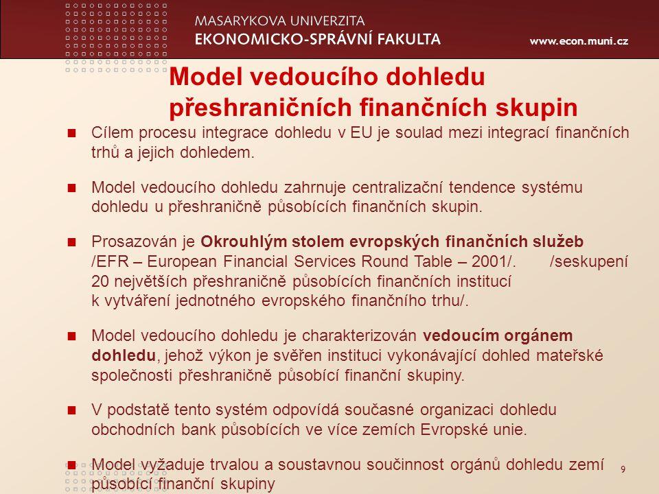 www.econ.muni.cz 9 Model vedoucího dohledu přeshraničních finančních skupin Cílem procesu integrace dohledu v EU je soulad mezi integrací finančních trhů a jejich dohledem.