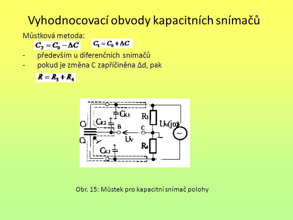 Vyhodnocovací obvody kapacitních snímačů Můstková metoda: -především u diferenčních snímačů -pokud je změna C zapříčiněna ∆d, pak Obr. 15: Můstek pro
