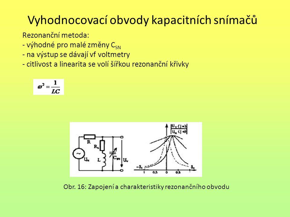 Vyhodnocovací obvody kapacitních snímačů Rezonanční metoda: - výhodné pro malé změny C SN - na výstup se dávají vf voltmetry - citlivost a linearita s