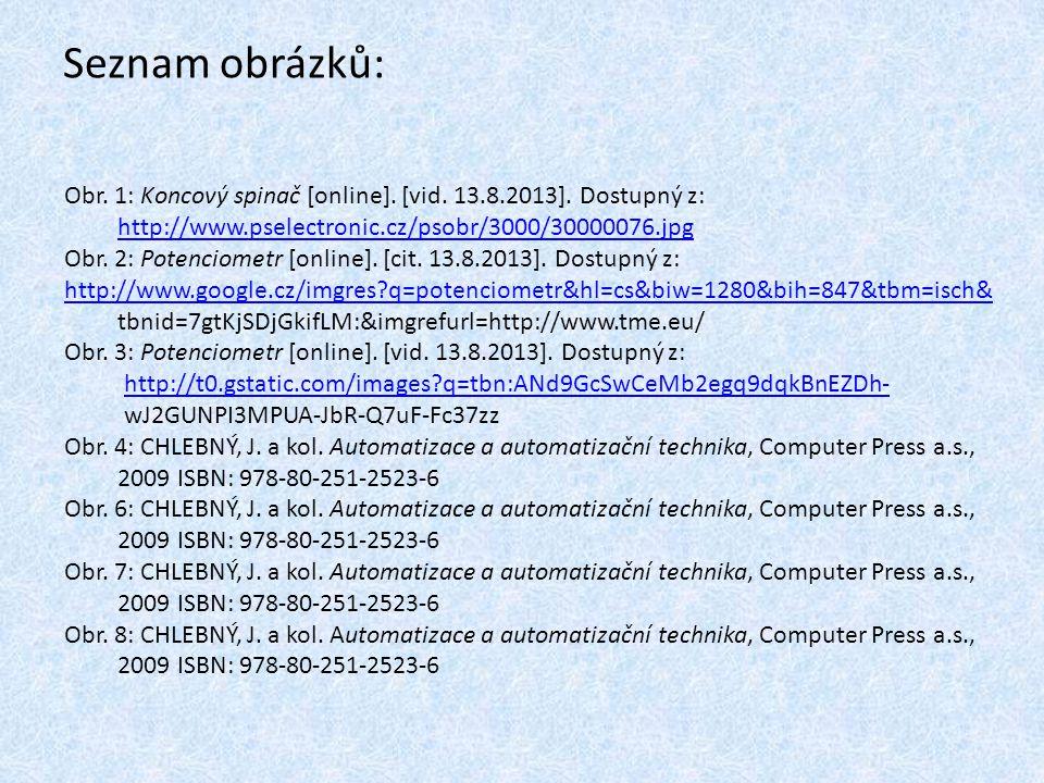 Seznam obrázků: Obr. 1: Koncový spinač [online]. [vid. 13.8.2013]. Dostupný z: http://www.pselectronic.cz/psobr/3000/30000076.jpg Obr. 2: Potenciometr