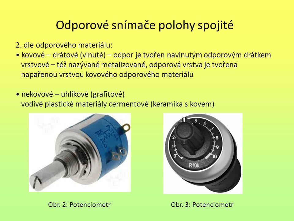 Odporové snímače polohy spojité 2. dle odporového materiálu: kovové – drátové (vinuté) – odpor je tvořen navinutým odporovým drátkem vrstvové – též na