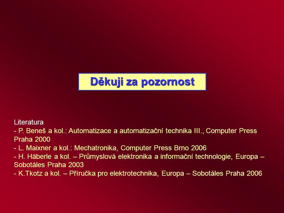 Děkuji za pozornost Literatura - P. Beneš a kol.: Automatizace a automatizační technika III., Computer Press Praha 2000 - L. Maixner a kol.: Mechatron