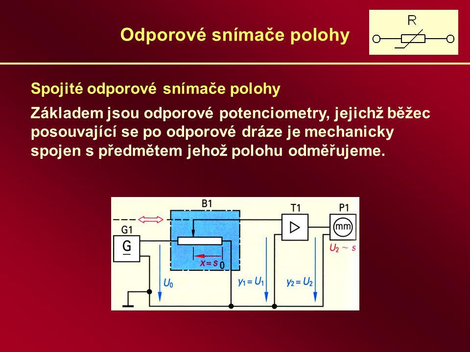 Odporové snímače polohy Rozdělení podle: a) tvaru dráhy: - lineární, - profilové (logaritmický, exponenciální) b) pohybu : - rotační jednootáčkové, - rotační víceotáčkové, - přímočaré c) materiálu dráhy: - kovové – drátové a vrstvové - nekovové – uhlíkové, cermetové, vodivé plasty