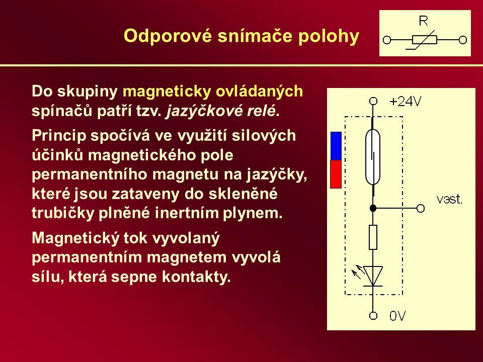 Odporové snímače polohy Do skupiny magneticky ovládaných spínačů patří tzv. jazýčkové relé. Princip spočívá ve využití silových účinků magnetického po