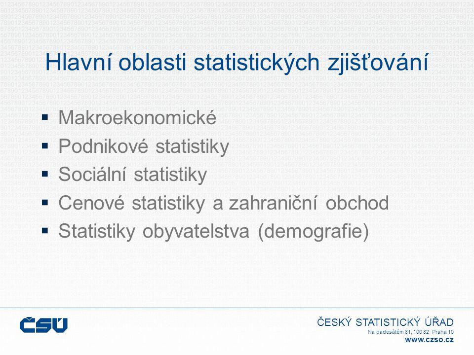 ČESKÝ STATISTICKÝ ÚŘAD Na padesátém 81, 100 82 Praha 10 www.czso.cz Hlavní oblasti statistických zjišťování  Makroekonomické  Podnikové statistiky 