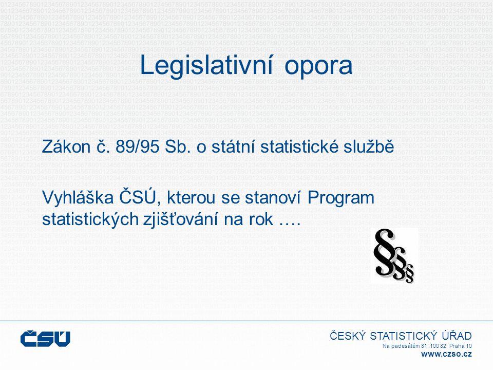 ČESKÝ STATISTICKÝ ÚŘAD Na padesátém 81, 100 82 Praha 10 www.czso.cz Legislativní opora Zákon č.