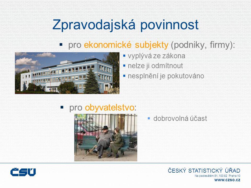 ČESKÝ STATISTICKÝ ÚŘAD Na padesátém 81, 100 82 Praha 10 www.czso.cz Zpravodajská povinnost  pro ekonomické subjekty (podniky, firmy):  vyplývá ze zá