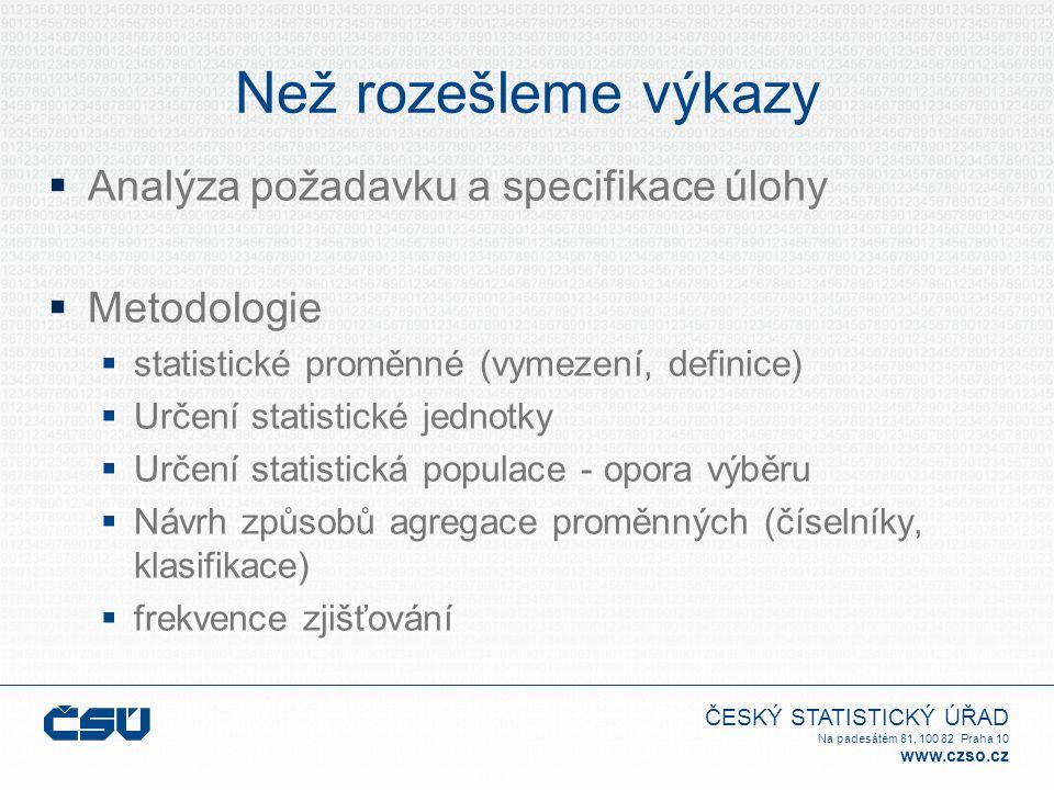 ČESKÝ STATISTICKÝ ÚŘAD Na padesátém 81, 100 82 Praha 10 www.czso.cz Než rozešleme výkazy  Analýza požadavku a specifikace úlohy  Metodologie  statistické proměnné (vymezení, definice)  Určení statistické jednotky  Určení statistická populace - opora výběru  Návrh způsobů agregace proměnných (číselníky, klasifikace)  frekvence zjišťování