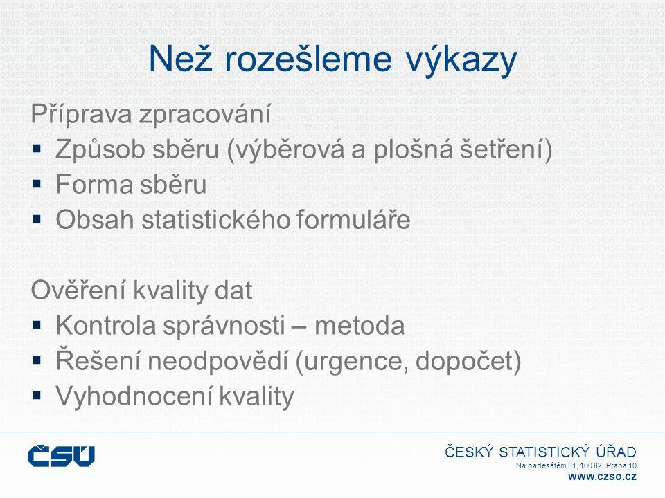 ČESKÝ STATISTICKÝ ÚŘAD Na padesátém 81, 100 82 Praha 10 www.czso.cz Než rozešleme výkazy Příprava zpracování  Způsob sběru (výběrová a plošná šetření