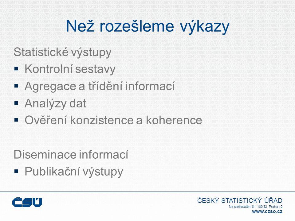 ČESKÝ STATISTICKÝ ÚŘAD Na padesátém 81, 100 82 Praha 10 www.czso.cz Než rozešleme výkazy Statistické výstupy  Kontrolní sestavy  Agregace a třídění