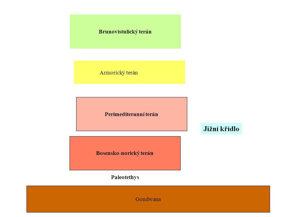 Brunovistulický terán Bosensko-norický terán Gondwana Paleotethys oceán Perimediteranní terán Armorický terán Jižní křídlo