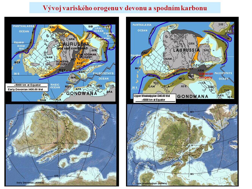Vývoj variského orogenu v devonu a spodním karbonu