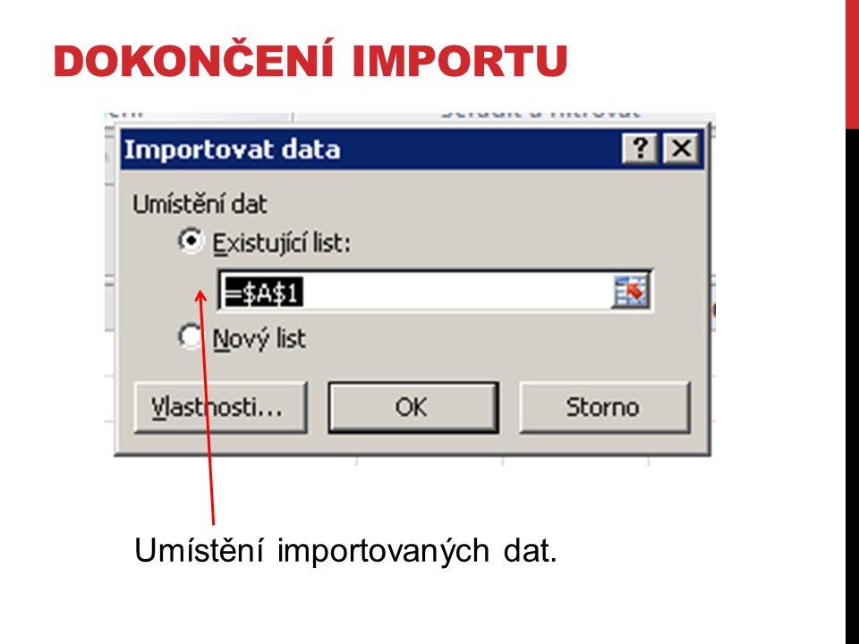 DOKONČENÍ IMPORTU Umístění importovaných dat.