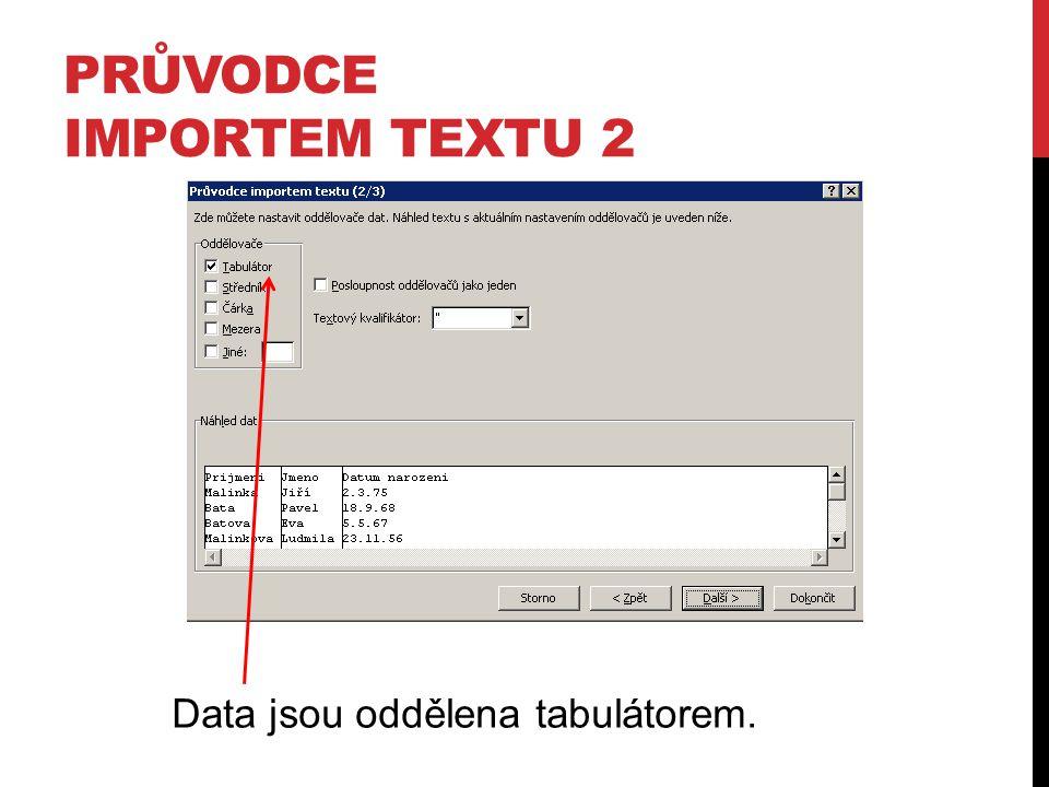 PRŮVODCE IMPORTEM TEXTU 2 Data jsou oddělena tabulátorem.