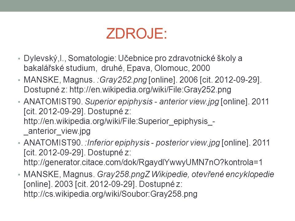 ZDROJE: Dylevský,I., Somatologie: Učebnice pro zdravotnické školy a bakalářské studium, druhé, Epava, Olomouc, 2000 MANSKE, Magnus. :Gray252.png [onli