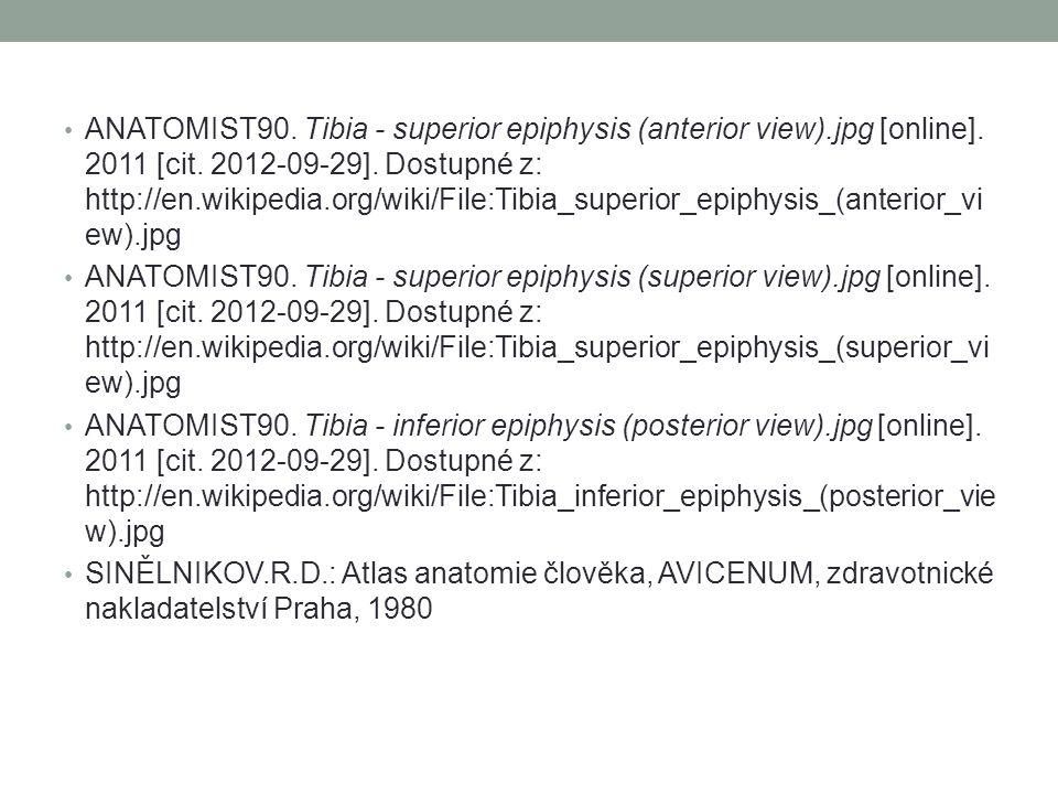 ANATOMIST90. Tibia - superior epiphysis (anterior view).jpg [online]. 2011 [cit. 2012-09-29]. Dostupné z: http://en.wikipedia.org/wiki/File:Tibia_supe