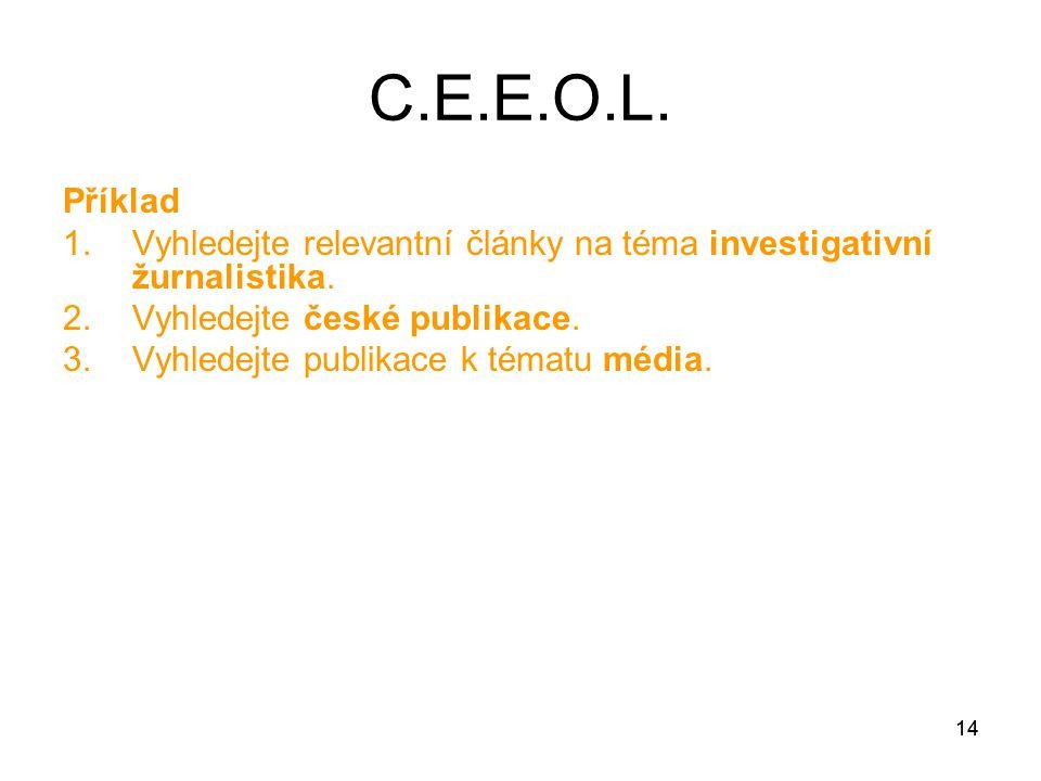 14 Příklad 1.Vyhledejte relevantní články na téma investigativní žurnalistika.