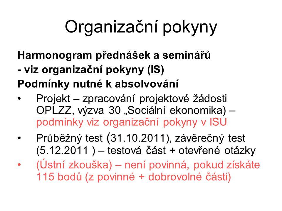 BODOVÁNÍ Povinná část Průběžný test – 30 bodů (test + část otevřených otázek) Závěrečný test – 30 bodů (test + část otevřených otázek) Projekt – 30 bodů + 25 bodů Dobrovolná část aktivita na přednáškách a seminářích esej (max 5 bodů) – seminář 19.9.2011 (výsledky k dispozici 29.9.2011) zpracování úkolu – seminář 17.10.2011 (max 10 bodů) rešerše vybraného článku (max 10 bodů) – články budou k dispozici na vyžádání u mne (od 30.9.2011)