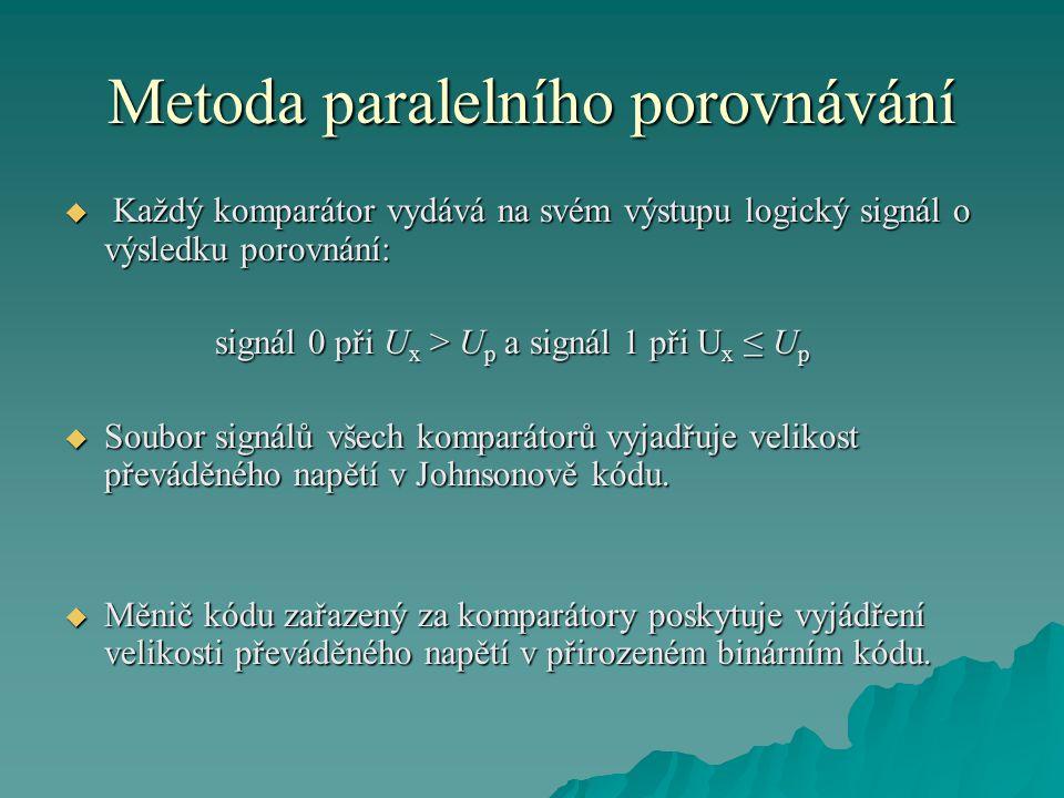 Metoda paralelního porovnávání  Každý komparátor vydává na svém výstupu logický signál o výsledku porovnání: signál 0 při U x > U p a signál 1 při U x ≤ U p signál 0 při U x > U p a signál 1 při U x ≤ U p  Soubor signálů všech komparátorů vyjadřuje velikost převáděného napětí v Johnsonově kódu.