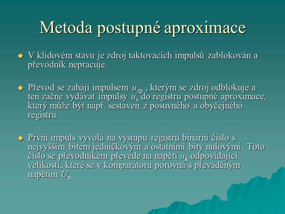 Metoda postupné aproximace  V klidovém stavu je zdroj taktovacích impulsů zablokován a převodník nepracuje.
