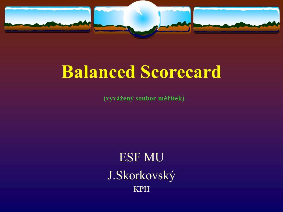Cíle a měřítka BSC  Cíle a měřítka BSC – zbavit se strnulého modelu finančního účetnictví a přitom zachovat tradiční finanční měřítka Tato měřítka vypovídají o minulých finančních transakcích.