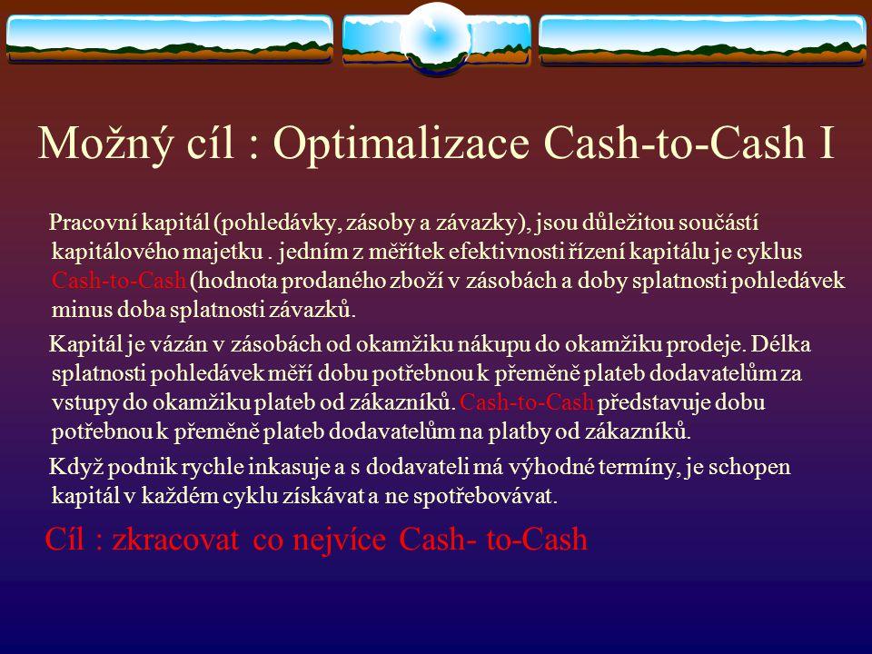 Možný cíl : Optimalizace Cash-to-Cash I Pracovní kapitál (pohledávky, zásoby a závazky), jsou důležitou součástí kapitálového majetku. jedním z měříte