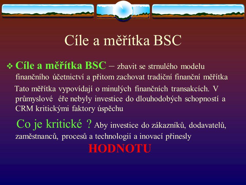 Cíle a měřítka BSC  Cíle a měřítka BSC – zbavit se strnulého modelu finančního účetnictví a přitom zachovat tradiční finanční měřítka Tato měřítka vy