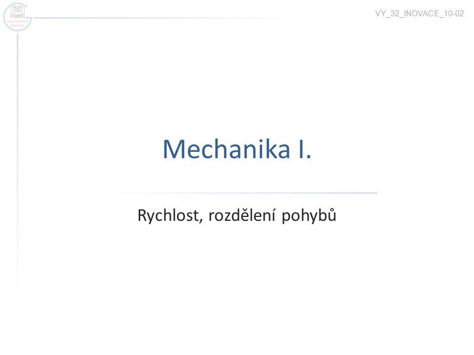 Mechanika I. Rychlost, rozdělení pohybů VY_32_INOVACE_10-02