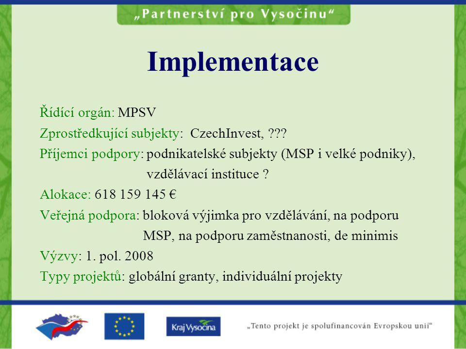 Implementace Řídící orgán: MPSV Zprostředkující subjekty: CzechInvest, .