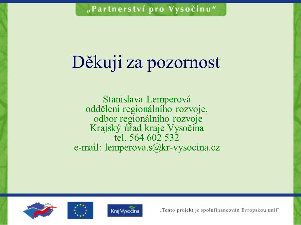 Děkuji za pozornost Stanislava Lemperová oddělení regionálního rozvoje, odbor regionálního rozvoje Krajský úřad kraje Vysočina tel.