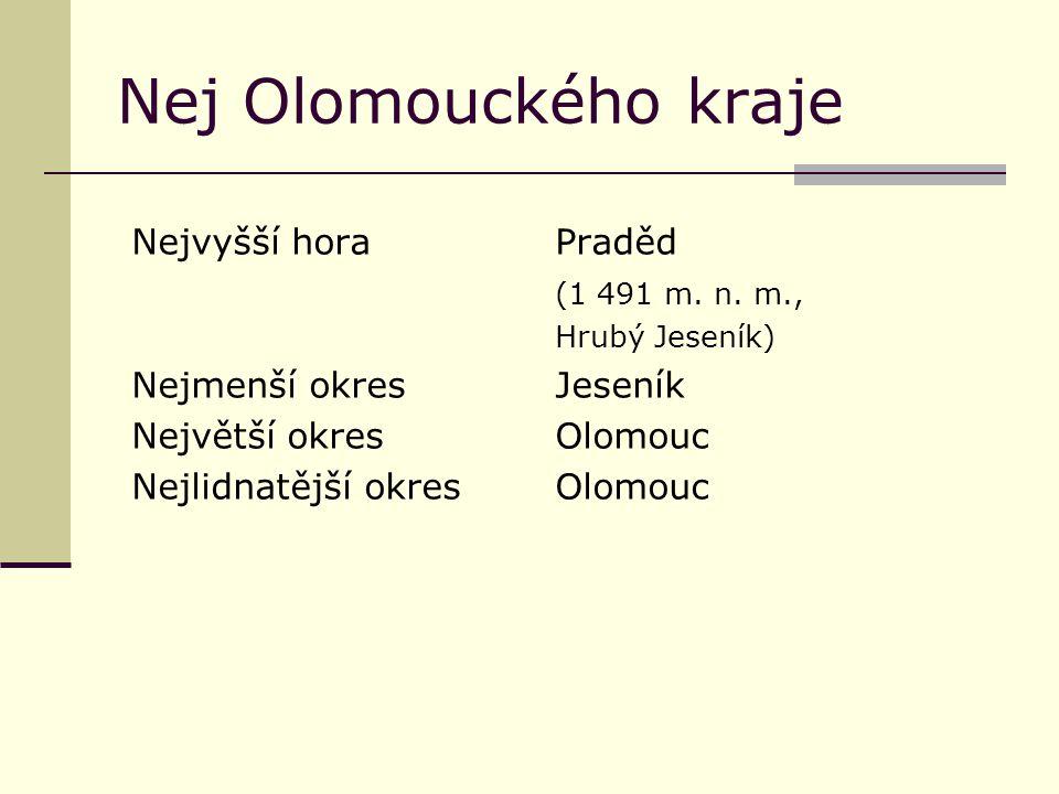 Nej Olomouckého kraje Nejvyšší horaPraděd (1 491 m. n. m., Hrubý Jeseník) Nejmenší okresJeseník Největší okresOlomouc Nejlidnatější okresOlomouc