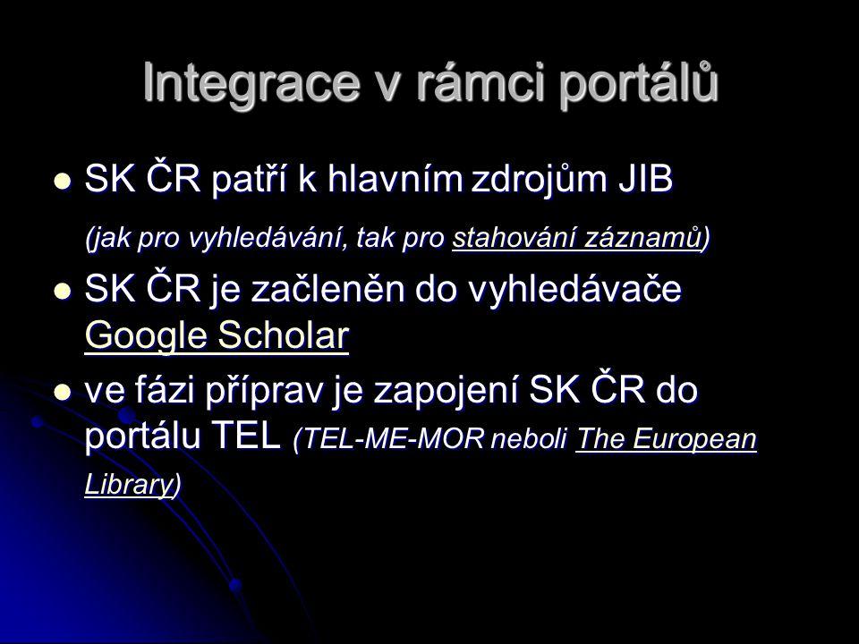 Integrace v rámci portálů SK ČR patří k hlavním zdrojům JIB SK ČR patří k hlavním zdrojům JIB (jak pro vyhledávání, tak pro stahování záznamů) stahování záznamůstahování záznamů SK ČR je začleněn do vyhledávače Google Scholar SK ČR je začleněn do vyhledávače Google Scholar Google Scholar Google Scholar ve fázi příprav je zapojení SK ČR do portálu TEL (TEL-ME-MOR neboli The European Library) ve fázi příprav je zapojení SK ČR do portálu TEL (TEL-ME-MOR neboli The European Library)The European LibraryThe European Library