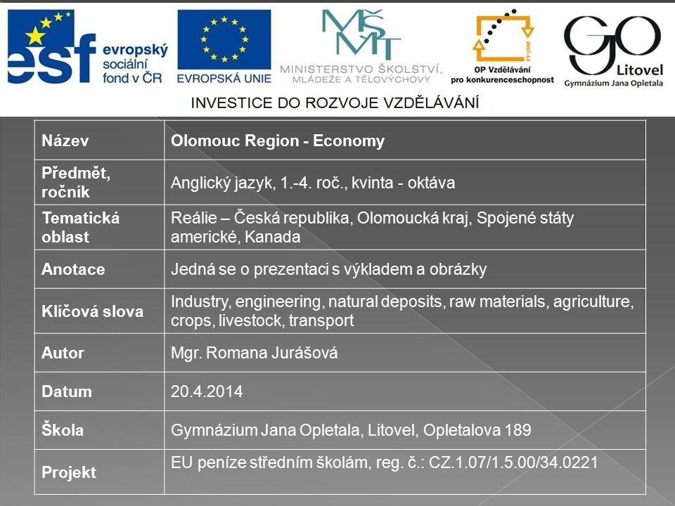 NázevOlomouc Region - Economy Předmět, ročník Anglický jazyk, 1.-4.