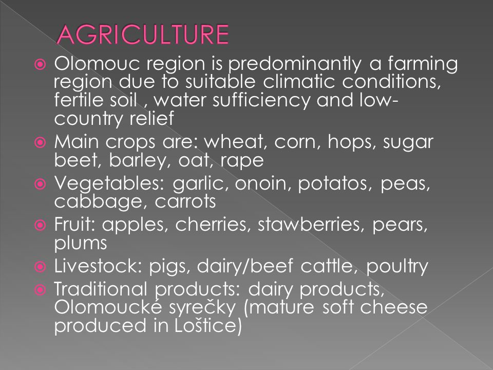  Olomouc region is predominantly a farming region due to suitable climatic conditions, fertile soil, water sufficiency and low- country relief  Main