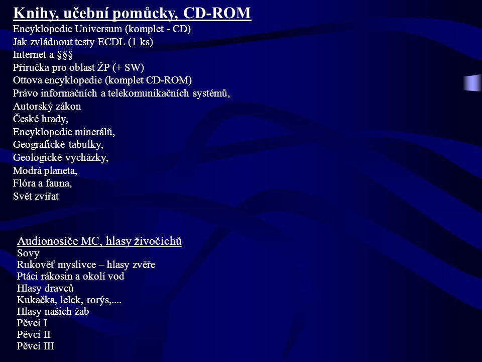 Knihy, učební pomůcky, CD-ROM Encyklopedie Universum (komplet - CD) Jak zvládnout testy ECDL (1 ks) Internet a §§§ Příručka pro oblast ŽP (+ SW) Ottov