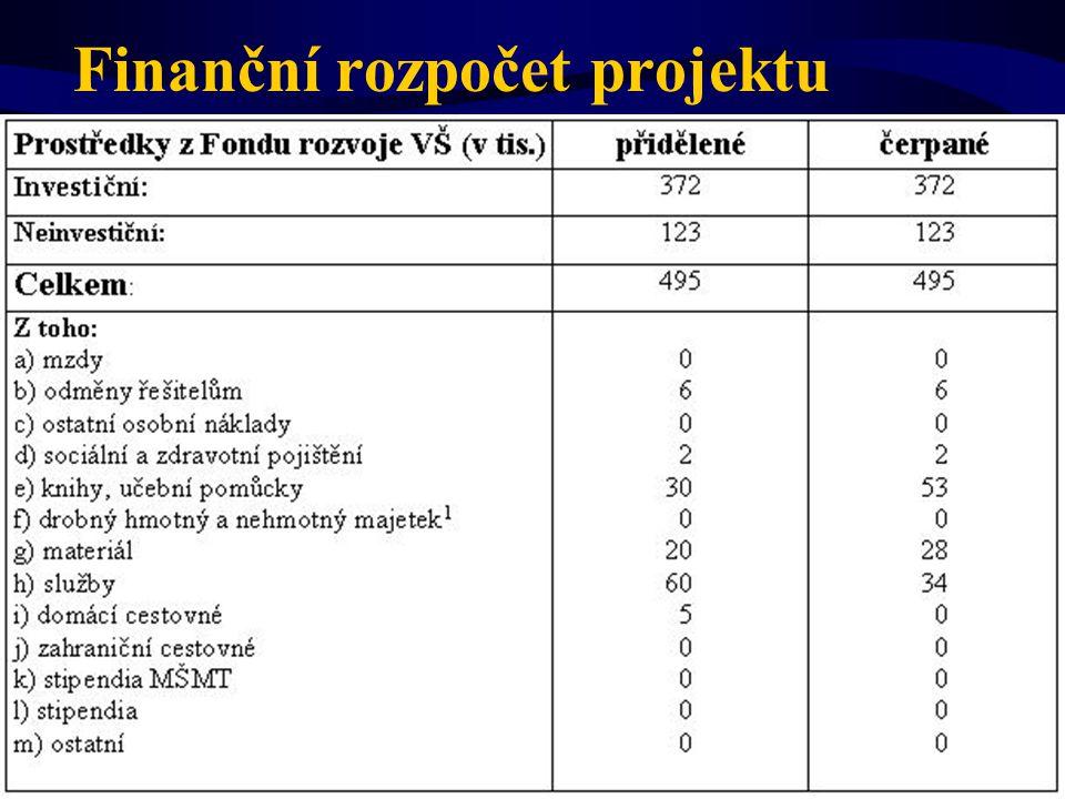 Finanční rozpočet projektu