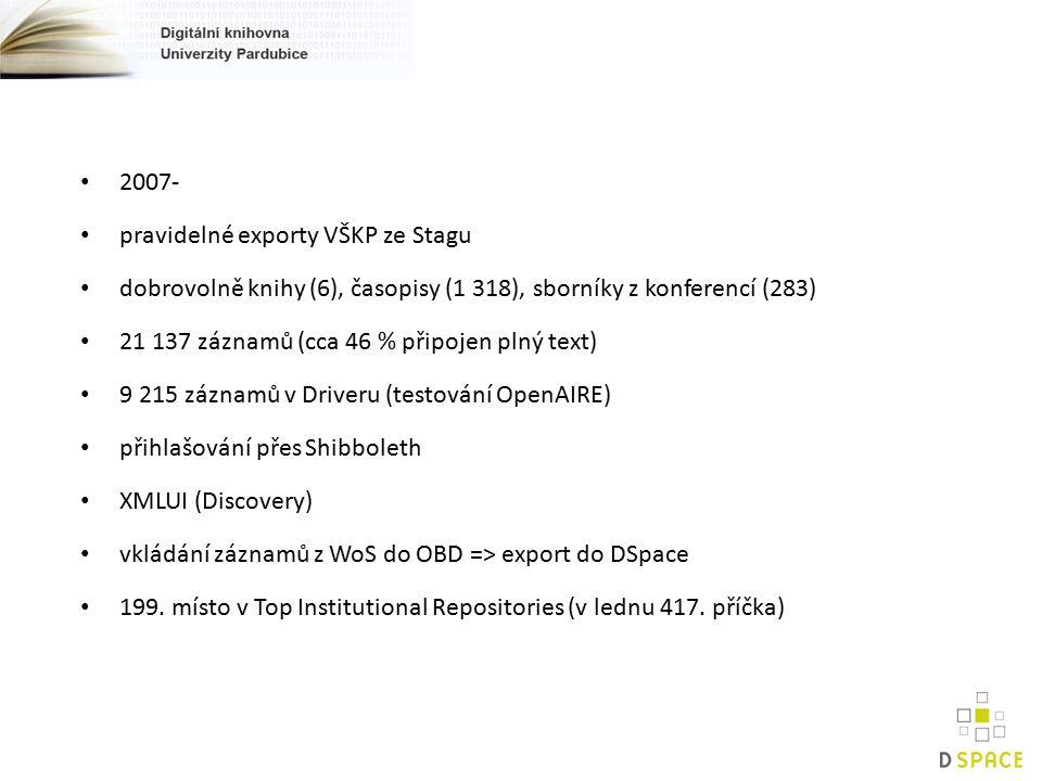2007- pravidelné exporty VŠKP ze Stagu dobrovolně knihy (6), časopisy (1 318), sborníky z konferencí (283) 21 137 záznamů (cca 46 % připojen plný text