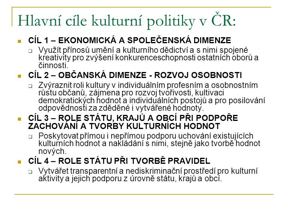Hlavní cíle kulturní politiky v ČR: CÍL 1 – EKONOMICKÁ A SPOLEČENSKÁ DIMENZE  Využít přínosů umění a kulturního dědictví a s nimi spojené kreativity