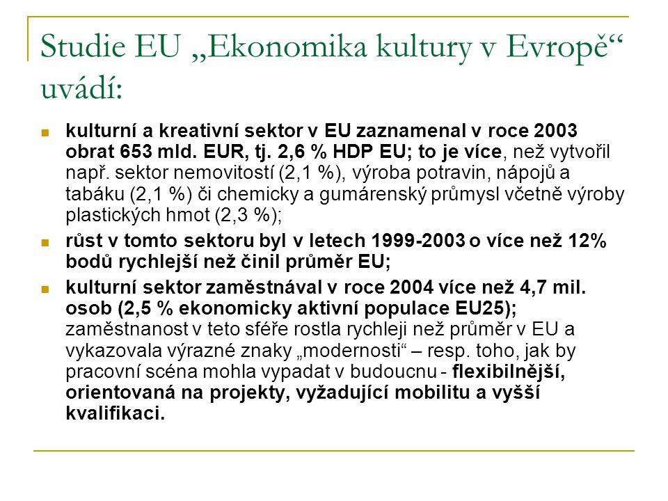 """Studie EU """"Ekonomika kultury v Evropě"""" uvádí: kulturní a kreativní sektor v EU zaznamenal v roce 2003 obrat 653 mld. EUR, tj. 2,6 % HDP EU; to je více"""