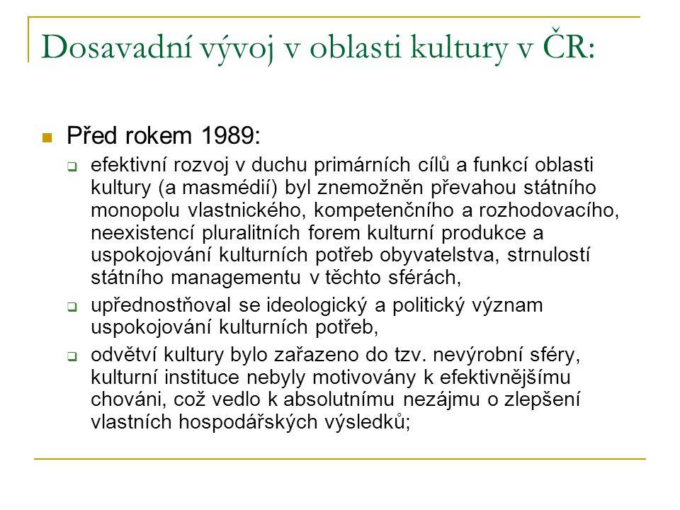 Dosavadní vývoj v oblasti kultury v ČR: Před rokem 1989:  efektivní rozvoj v duchu primárních cílů a funkcí oblasti kultury (a masmédií) byl znemožně