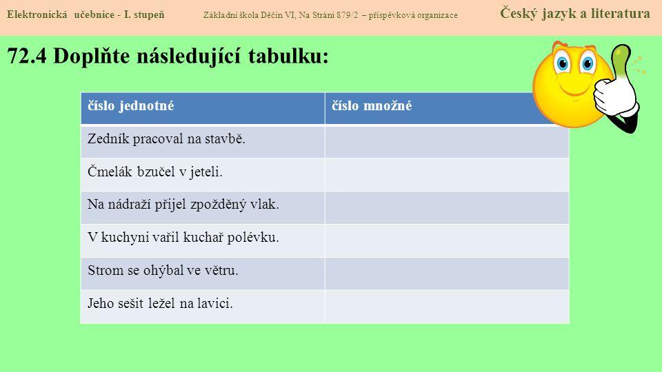72.4 Doplňte následující tabulku: Elektronická učebnice - I.