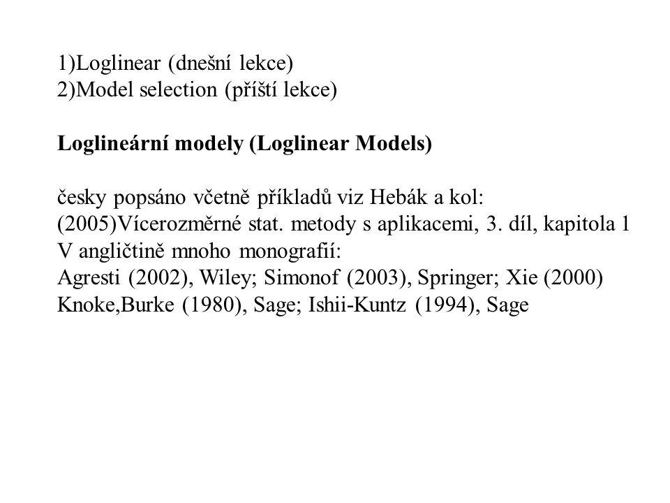 1)Loglinear (dnešní lekce) 2)Model selection (příští lekce) Loglineární modely (Loglinear Models) česky popsáno včetně příkladů viz Hebák a kol: (2005