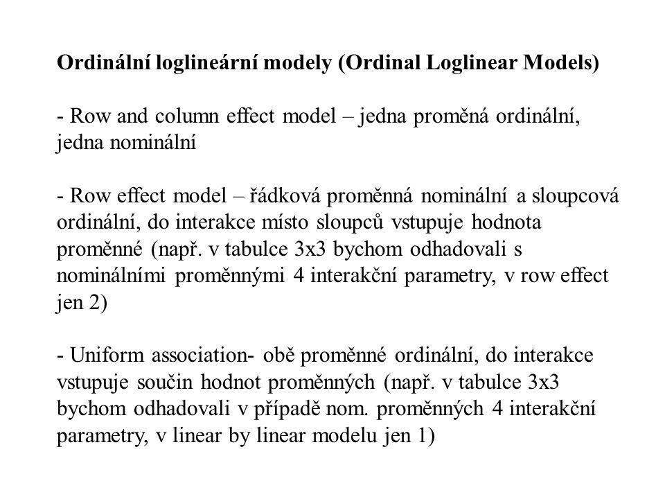 Ordinální loglineární modely (Ordinal Loglinear Models) - Row and column effect model – jedna proměná ordinální, jedna nominální - Row effect model –