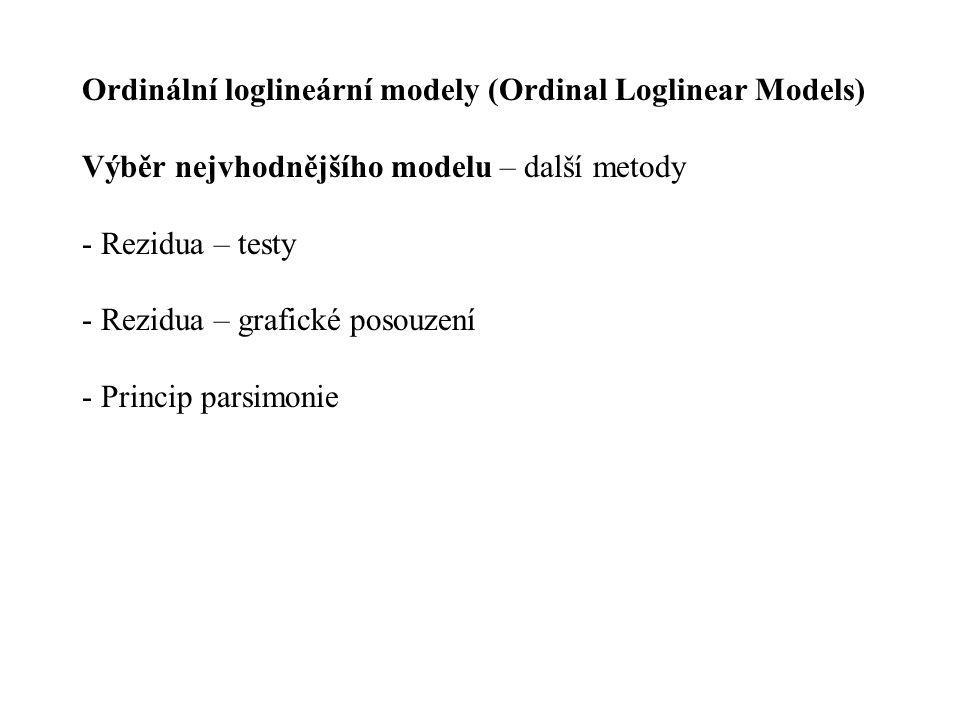 Ordinální loglineární modely (Ordinal Loglinear Models) Výběr nejvhodnějšího modelu – další metody - Rezidua – testy - Rezidua – grafické posouzení -